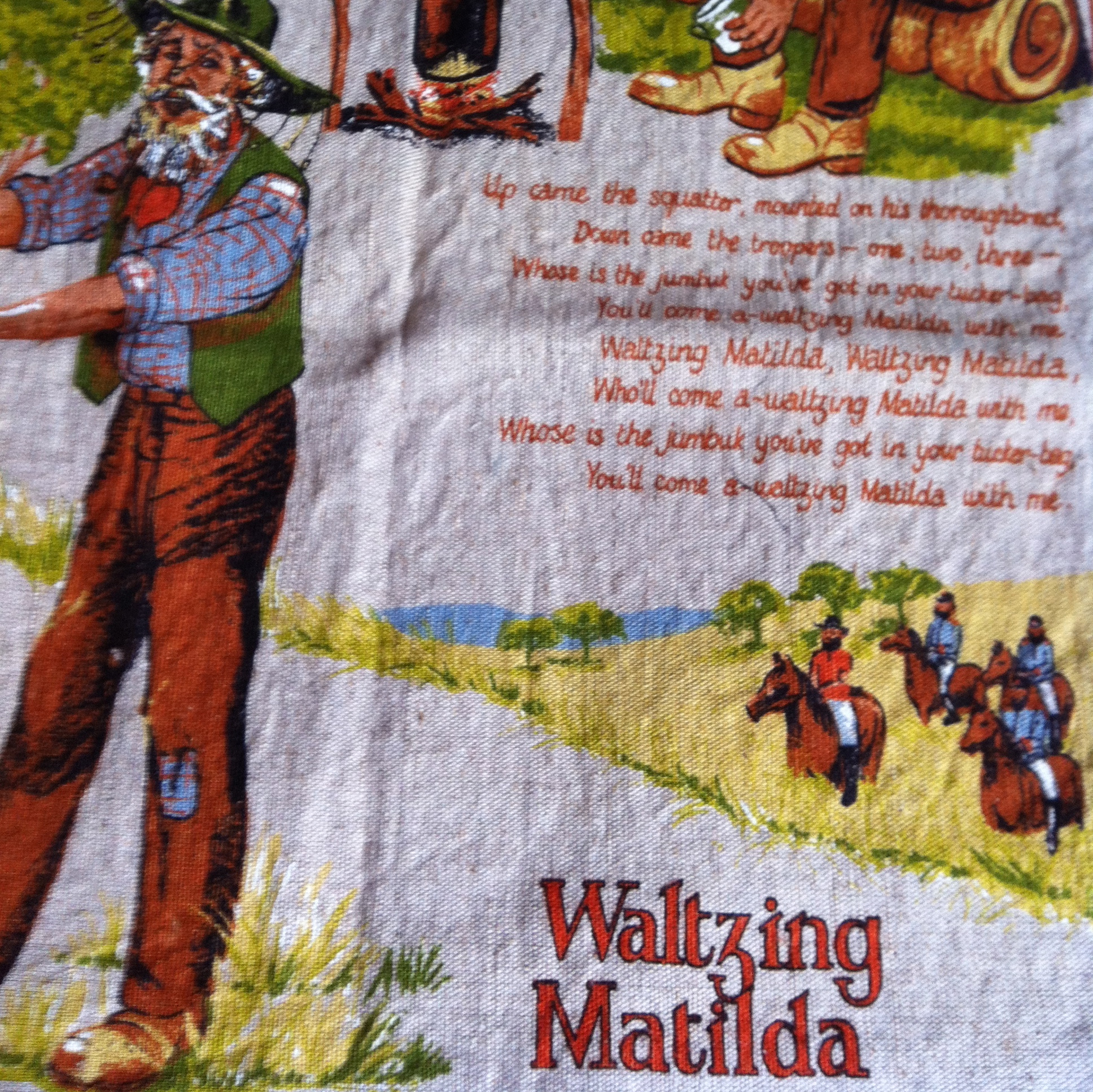 """waltzing matilda Once a jolly swagman camped beside a billabong under the shade of a coolibah tree and he sang as he sat and waited while his billy boiled """"you'll come a-waltzing matilda."""